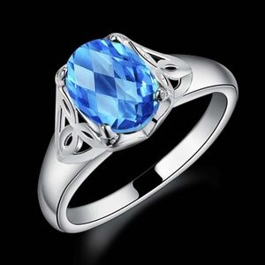 Other - NEW Aqua Blue CZ Silver Plated Ring 925 Engagement
